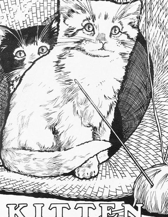 kittens coloring page coloring book digital download Retro Picnic Clip Are