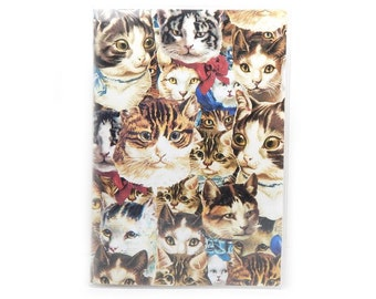 Passport cover - Cat Heads  - passport holder - kitty faces passport case - cat lover travel accessory - vintage cats