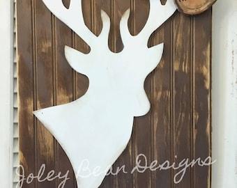 Deer Head on Beadboard Doorhanger