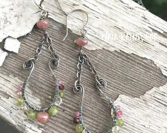 Peridot, rhodochrosite, and pink sapphire vessel drop earrings
