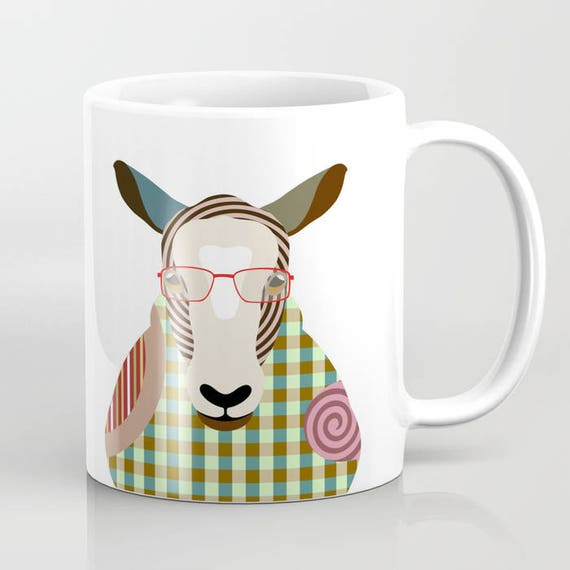 Sheep Mug, Sheep Gifts, Sheep Art Print, Sheep Painting, Sheep Image Art, Farm Animal Art, Animal Lovers Gifts