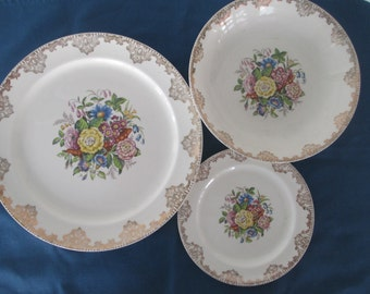 Vintage Sheffield Service For Six 23K Floral Dinnerware Marked Floral China Weddings Formal Dinnerware
