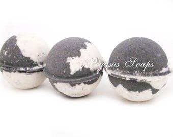 3 Charcoal Peppermint  Bath Bomb Fizzy Relaxing Bath, Fizzy Bath, Handmade Bath Bomb, Birthday, Vegan Friendly