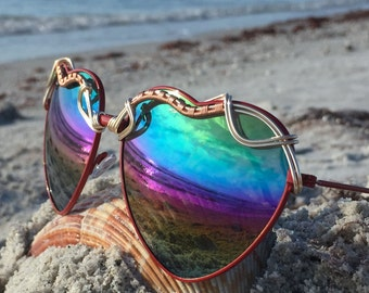 HEARTS Rainbow Reflective ~ SPUNGLASSES ~ Unique Gift ~ Wearable Art Wire Wrap Sunglasses Eyewear OOAK One of a Kind New
