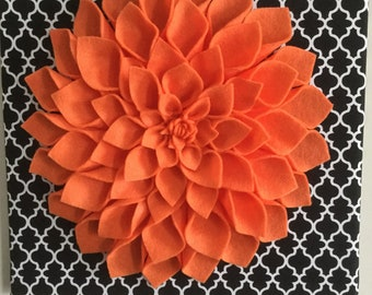 Orange Dahlia on a 12X12 inches canvas board!