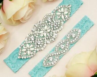 Something Blue Garter, Wedding Garter Set, Bridal Garter Set, Lace Wedding Garter, Blue Lace Garter, Blue Garter Belt, Blue Garter, 1