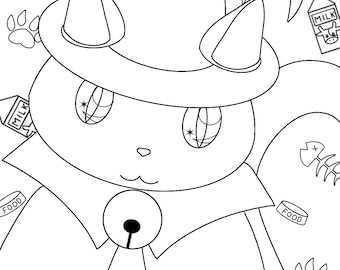 cat colouring page