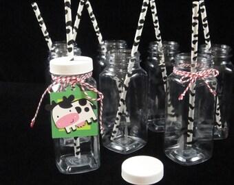 TWELVE French Milk Bottles, Plastic French Milk Bottles, Square Milk Bottles, Unbreakable Milk Bottles, Kids Parties,  Weddings - 8 oz