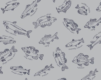 Maywood by Kristen Berger Collection Grey Sketchy Fish # 8850M-K 1/2 Yard Fabric for Quilting Free Shipping