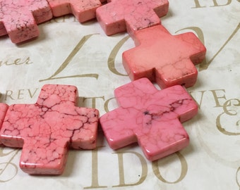 AA quality, Magnesite Beads, Pink, Cross, 1pc, 35mm