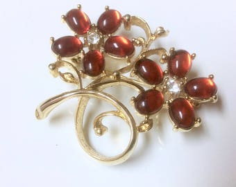 Vintage Red Jelly Lucite and Rhinestone Gold Tone Floral Pin Brooch