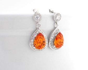 Orange Wedding Earrings Bridal Fall Tangerine Swarovski Earings Cubic Zirconia Rhinestones Orange Teardrop Bridesmaid Jewelry Orange Wedding