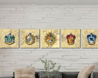 Harry Potter set of 5 logo Hogwarts Gryffindor Slytherin Hufflepuff Ravenclaw, Harry Potter gift, Marauders map, Gift For Him, Gift For Her