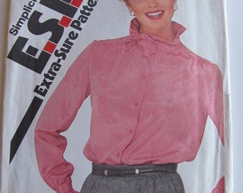 ON SALE 1980's Sewing Pattern - Simplicity 5340 Ruffled collar and cuff blouses Size 12-16 Uncut and factory folded