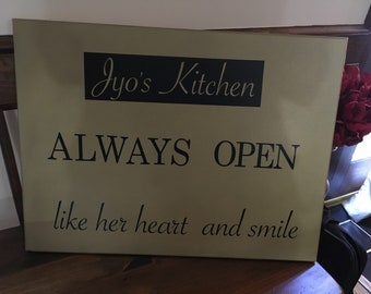 Custom lettered canvas sign