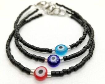 Evil eye bracelet, Seed beads bracelet, Black beads bracelet with evil eye, Red evil eye, Blue evil eye, Aqua blue evil eye, Dainty bracelet
