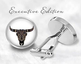Longhorn Cufflinks - Longhorn Cow Skull Cuff Links - Steer Cufflink - Longhorn Design Cuff Link (Pair) Lifetime Guarantee (S1338)