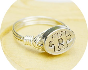 Puzzle Piece and Any Initial Ring- Sterling Silver Filled Wire Wrapped Ring with Pewter Bead- Any Size 4, 5, 6, 7, 8, 9, 10, 11, 12, 13, 14
