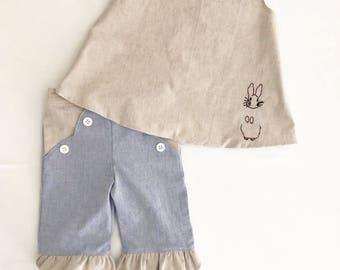 Girls Easter Outfit - Girls Easter Dress - Toddler Easter Dress - Easter pant set - Peter Rabbit Dress - Baby Shower Gift - Aline Dress