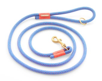 Neon Tetra rope dog leash // Blue and pink climbing rope lead // Unique pet leash with brass hardware // Colorful strong rope leash