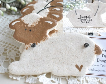 Personalized Lamb Salt Dough Baptism Ornament / Christening Favor Set of 10