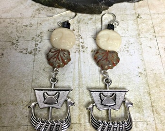 Viking Moon Earrings - Vikings, Viking Jewelry, Norse Jewelry, Moon Earrings, Pagan Jewelry, Thor, Longboat, Valhalla, Runes, Full Moon