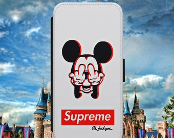 SUPREME Disney Mickey Mouse Rude F**k Quote Banter Funny Flip Wallet Phone Case Cover For iPhone & Samsung Model Fast Safe Tracked Postage