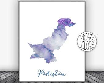 Pakistan Print Pakistan Art Print Watercolor Map Pakistan Map Decor Wall Art Prints Marble Wall Art  ArtPrintsZoe