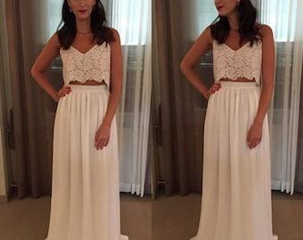 Beach Wedding Dress - Bohemian Wedding Dress - Boho Wedding Dress - Two Piece Wedding Dress - Crop Top Wedding Dress - Lace Wedding Dress