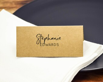 Place Cards Folded Kraft Placecards - Rustic Wedding Personalised Customised Place Cards