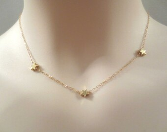 Triple, Star, Gold filled, Chain, Gold, Necklace, Star, Jewelry, Birthday, Friendship, Mom, Sister, Gift, Jewelry