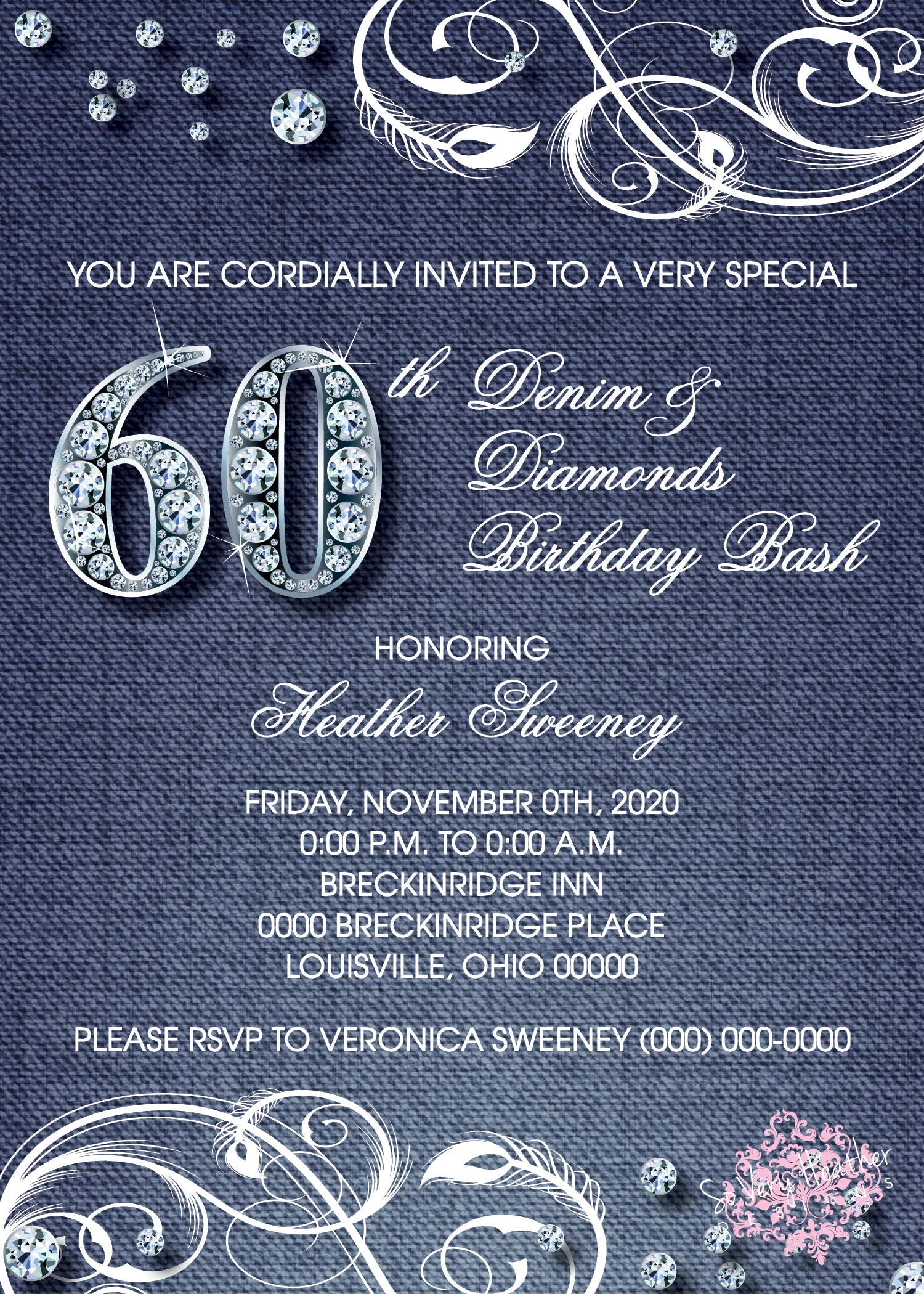 Denim and Diamonds Adult Birthday Party Invitation - Digital File OR ...