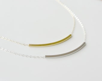 Simple Gold or Silver Necklace, Dainty Necklace, Curved Bar Necklace, Tube Necklace, Everyday necklace, Perfect Layering Necklace