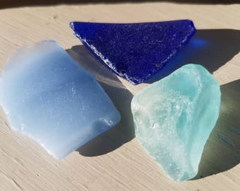 BLUE SEAGLASS TRIO ~ English Sea Glass ~ Thames Mudlarking Finds ~ Turquoise Cobalt Cornflower Blue