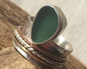 Sterling Silver Spinner Ring Seaglass Jewelry Authentic Seaglass