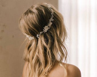 GABRIEL | Floral wedding crown with crystals and pearls