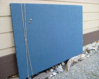 Burlap and Twine Bulletin Board with Jute Twine Accent, Office Memo board, wedding photo display, Nautical decor