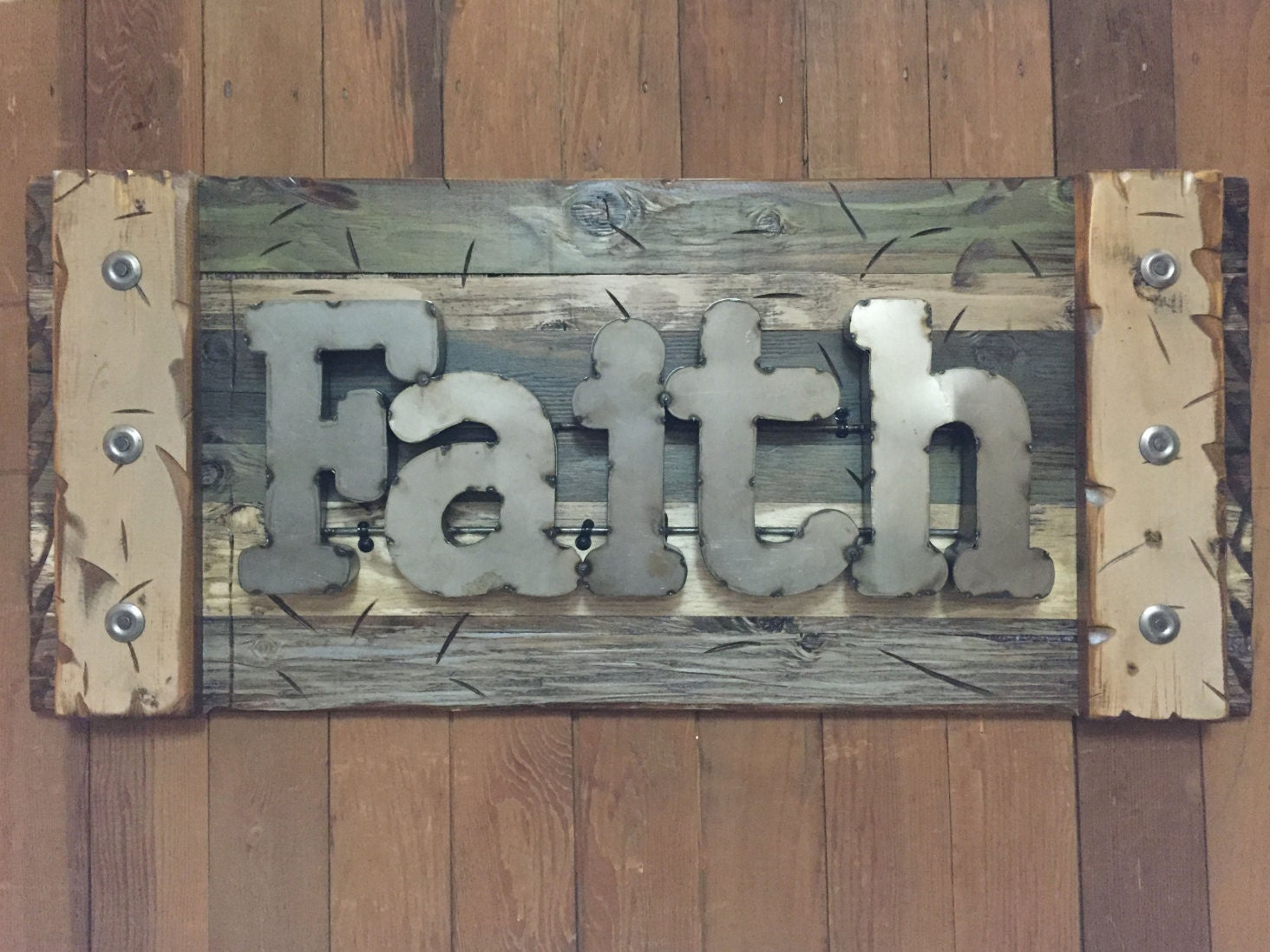 Navy Blue Metal Wall Art: FAITH Rustic Sign Reclaimed Shutter Distressed Industrial