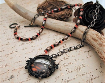 Victorian Fairy Wing Relic Necklace