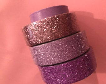 Washi tape lavendars glitter set of 4