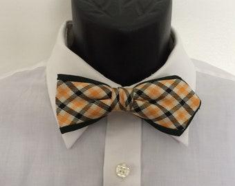 Vintage bow tie 1950's plaid yellow black green