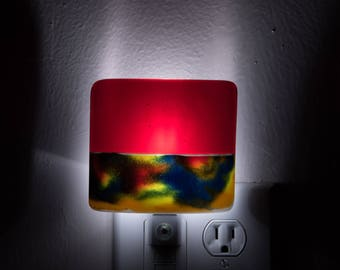 Avante Garde Yellow Red and Blue Night Light - Eclectic Night Lamp - Plug in Night Light - Nite Lite - Home Safety - Dawn to Dusk - 3293