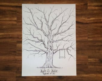 "Hand Drawn ""Guestbook"" Wedding Thumbprint Tree"