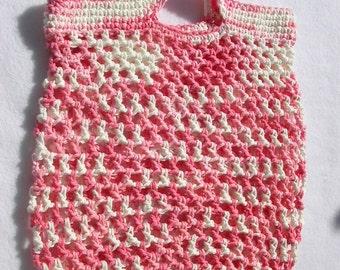 Pink & White Market Bag, Tote, Beach Bag, Gym Carrier