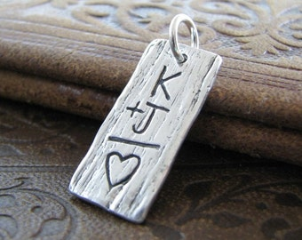 Personalized PMC Fine Silver Artisan Pendant, Woodgrain Texture, Handcarved with Heart and Initials by SilverWishes