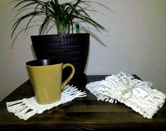 Macrame coasters, set of 4, Drink/Coffee Coasters
