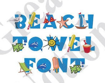 Beach Towel Font - Machine Embroidery Font