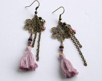 Earrings soutache LEILA parme