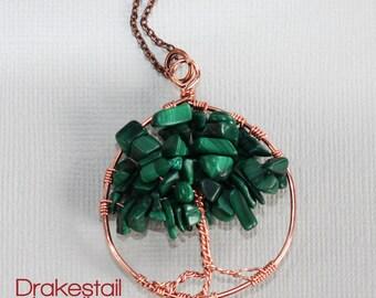 Tree of life necklace in copper and malachite, handmade wire-wrap copper pendant