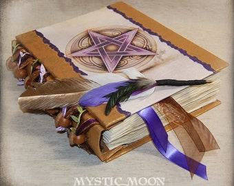 REAL Acorn Beads / XL Book of Shadows Journal / Pentagram Book of Shadows / Book of Spells / Wicca / Wiccan / Pagan / Quill Pen / Pentacle